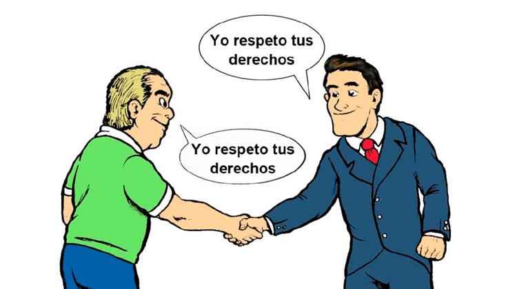"""hombres dándose la mano con bocadillo que reza """"yo respeto tus derechos"""""""